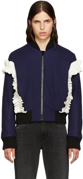 MSGM ruffle navy wool jacket