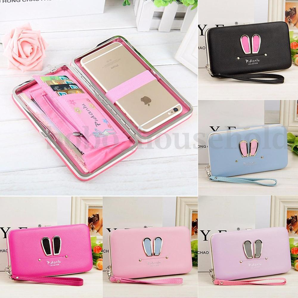 Women Girls Leather Wallet Long Card Holder Purse Phone Handbag Box Clutch Bag
