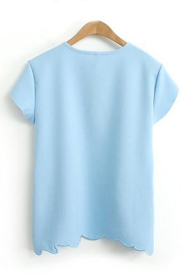 Asymmetrical Hem Short Sleeve T-shirt