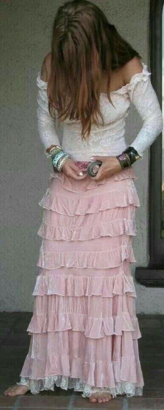 skirt pink ruffle maxi