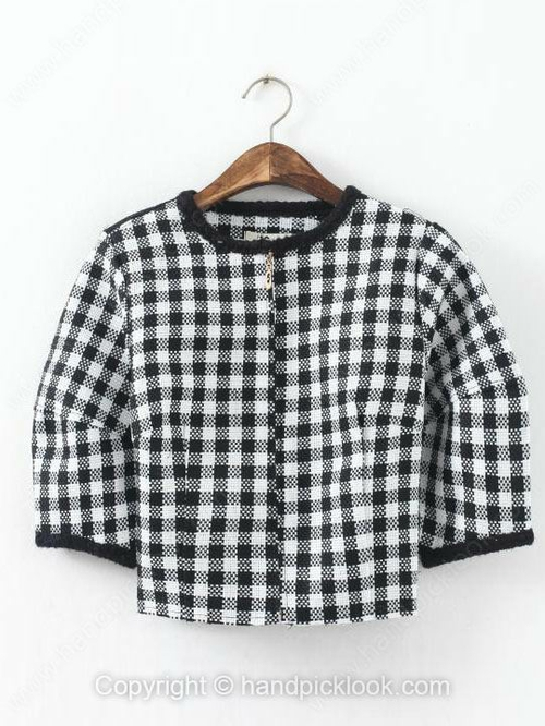 Black and White Scoop Half Sleeve Plaid Crop Coat - HandpickLook.com