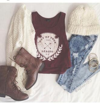 shirt cardigan jeans shoes tank top combat boots brown leather boots white cardigan white ripped jeans light jeans hat winter outfits light ripped jeans top crop tops t-shirt red top league outfit cute hipster girly ootd earphones tumblr burgundy graffic tee weheartit bordeaux red wine brown boots flat boots