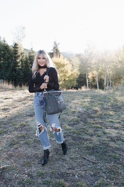 cara loren blogger top jeans shoes bag fall outfits ripped jeans boyfriend jeans black top boots
