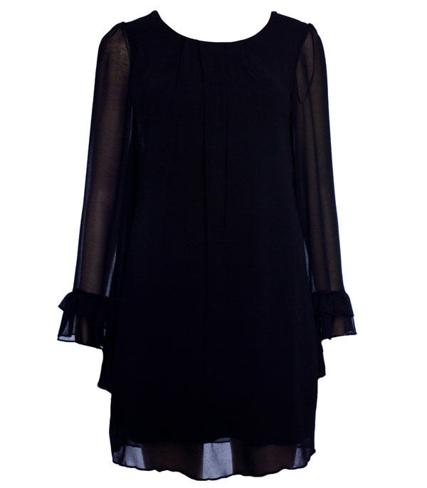 Womens black frill sleeve chiffon smock dress