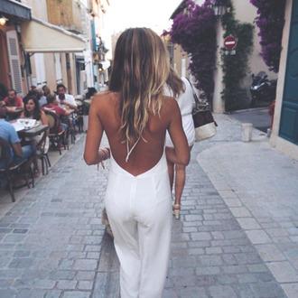 jumpsuit white lace up backless long jumpsuit