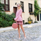 dress,topshop,bag,shoes,all pink everything,pink dress,bell sleeves,pink heels,atlantic pacific,pink sunglasses,pink bag,monochrome outfit
