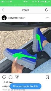 shoes,electric blue,light green,puma,high soles