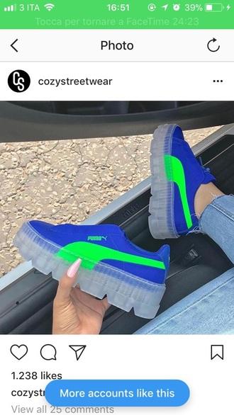 shoes electric blue light green puma high soles