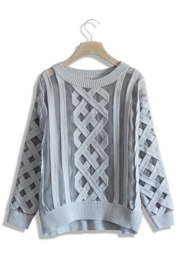 chicwish mesh cable knit grey sweater cable knit