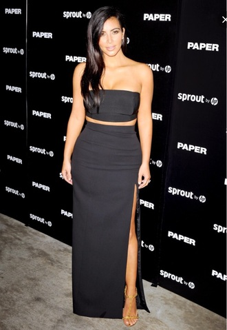 kim kardashian two-piece two piece dress set black bandeau maxi skirt homecoming