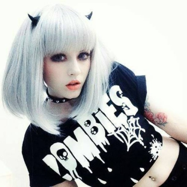shirt hipster goth zombie pastel pastel goth wig devil choker necklace grunge make-up belly piercing zombie top crop tops black and white black quote on it grunge t-shirt gothic lolita kawaii grunge graphic tee