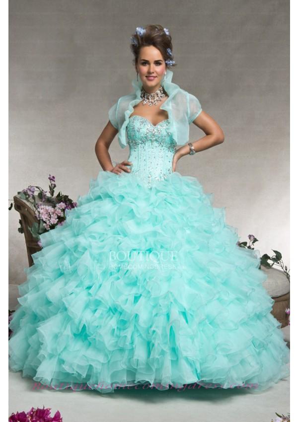 Length applique quinceanera dress