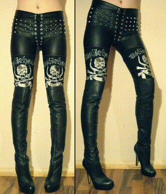 leggings metal motorhead leather pants studded punk rock n roll