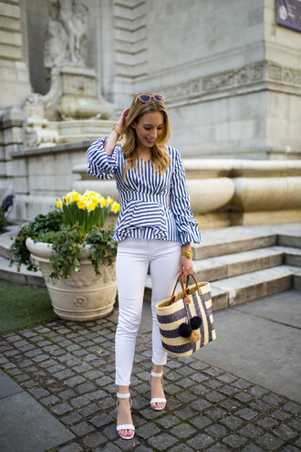 katie's bliss - a personal style blog based in nyc blogger top jeans bag shoes sunglasses jewels striped top raffia bag sandals white pants spring outfits