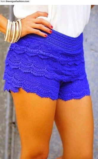 shorts bright blue lace shorts summer outfits