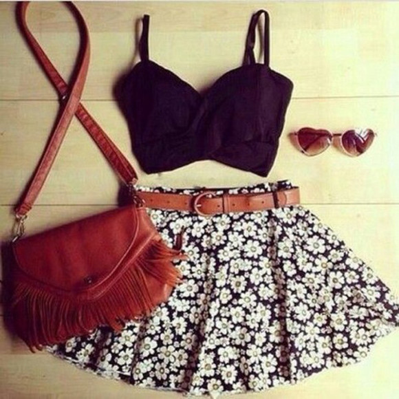 skirt floral skirt lovely daisy cool girl style indie