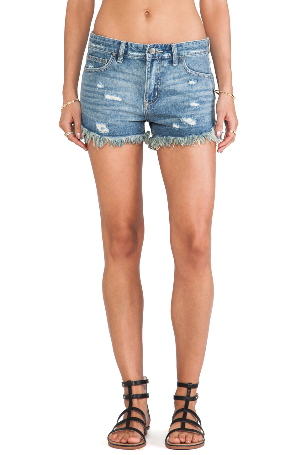 Free People Rugged Ripped Denim Short in True Blue from REVOLVEclothing.com
