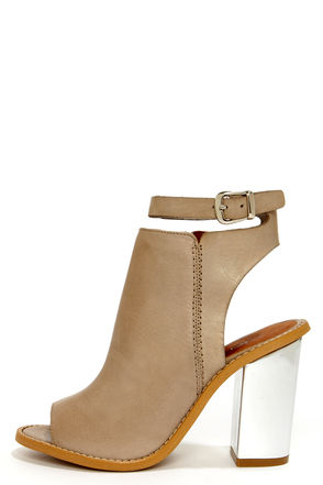 Beautiful Leather Shoes - Taupe Shoes - Booties - $149.00
