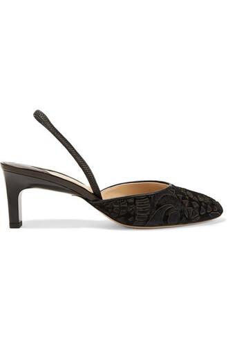 pumps black velvet shoes