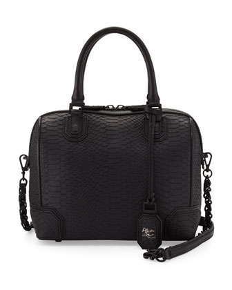 Alice   Olivia Olivia Lizard-Embossed Bag, Black/White