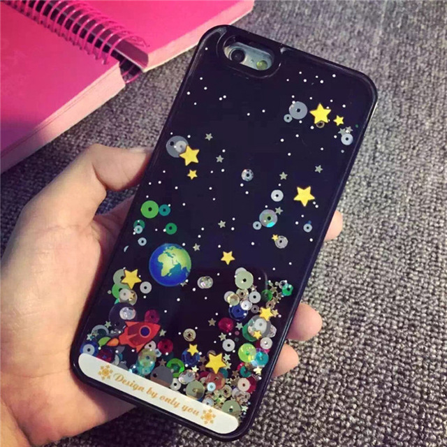 new arrival 4d511 fbcbd Korea Style Bling Outer Space Flowing Liquid Star Sequin Phone Case For  iphone 5 5s 6 6s 4.7 '' 6 Plus 5.5 ''Glitter Back Case-in Phone Bags &  Cases ...