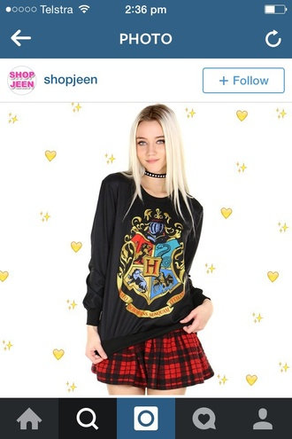 skirt checkered check checked check skirt checkered skirt checked skirt hogwarts harry potter shirt harry potter shirt long sleeve shirt