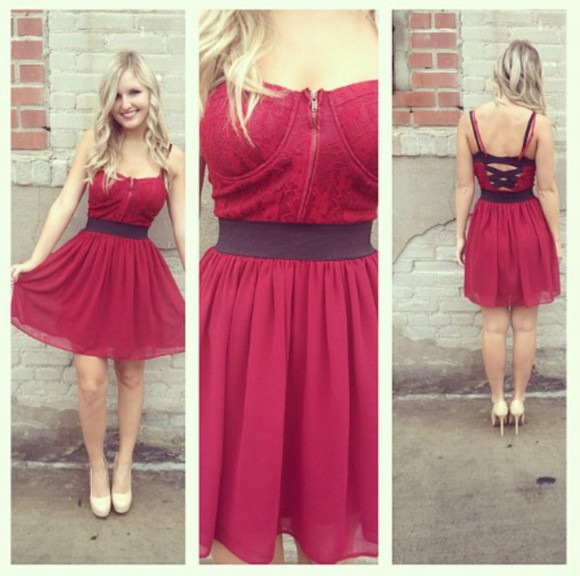 chiffon red dress bustier burgundy