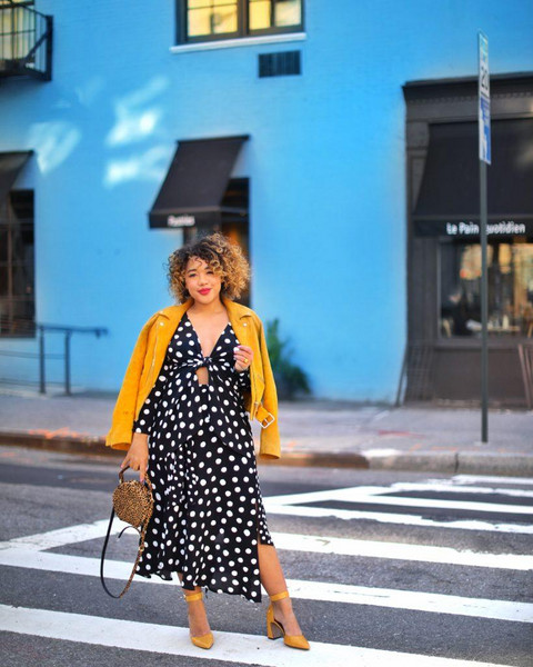 colormecourtney blogger shoes dress hat top sunglasses sweater bag jewels blouse yellow jakcet leather jacket polka dots polka dots dress yellow heels high heel pumps spring outfits