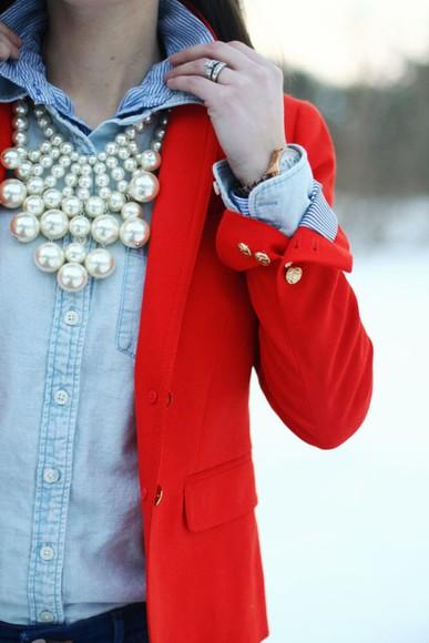 button up classy red blazer