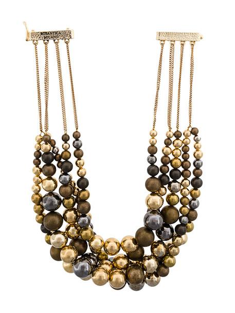 Rosantica metal women necklace grey metallic jewels