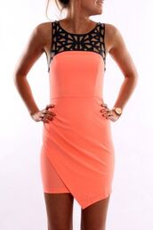 dress,orange,black,cute,pretty,style,stylish,fashion,fashionista,tight,coral,watch,tan,classy,dressy,gorgeous,perfect,hippie,hipster,boho,amazing,bohemian,coral dress,little black dress,black sexy dress,beautiul,sexy party dresses,homecoming dress,cut-out,cute dress,mini dress,short dress,black and pink,gorgeous dress,short,cut-out dress,summer dress,orange dress,black lace neckline,short party dresses,colorful,summer,sexy dress,black dress