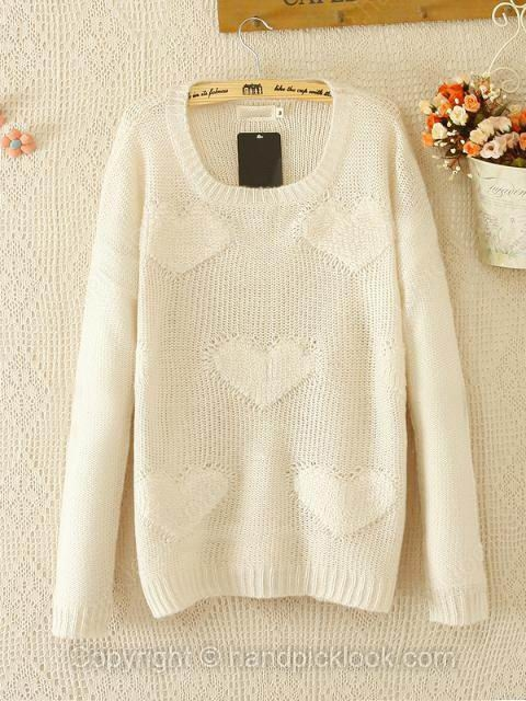 Beige Long Sleeve Wool Sweater - HandpickLook.com