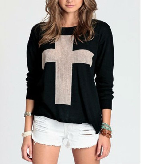 sweater cross knit cute black white girly hipster swag loevly lovely