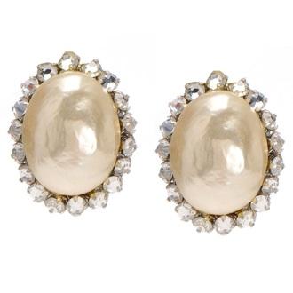 jewels earrings pearl pink pearls vintage-inspired denim jacket wedding accessories indie indie fashion fashion vintage girly diamond