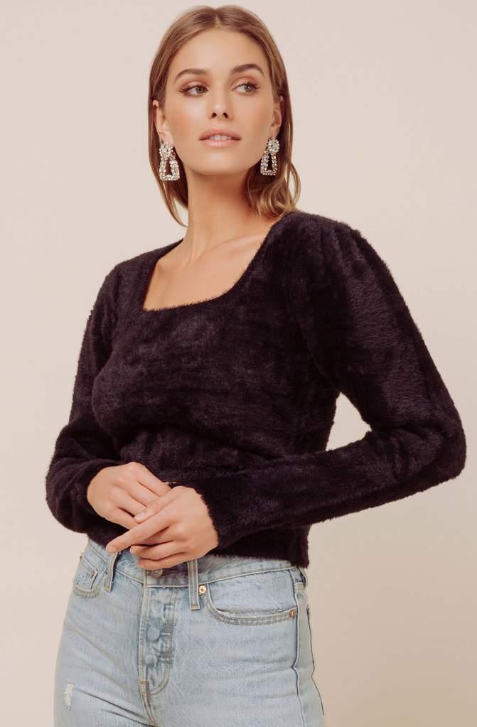 Square Neck Fuzzy Sweater