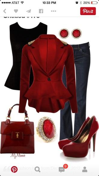 jacket coat blouse top cardigan red studded jacket peplum