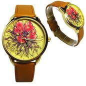 jewels,ziz watch,watch,leather watch,flowers,beautiful watch,unique watch,unusual watch,yellow,brown,ziziztime