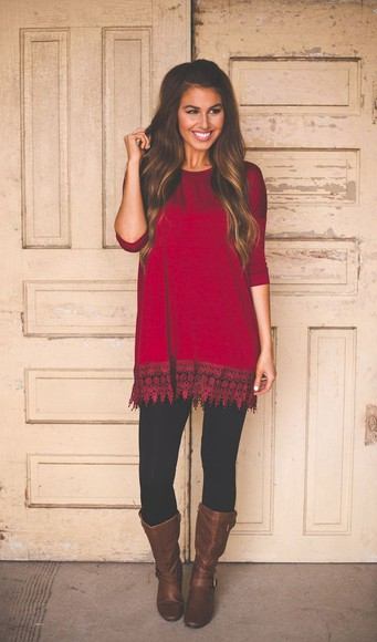 red blouse long sleeves lace brown leather boots