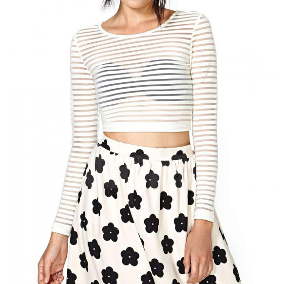 Long Sleeved Crop Top In Sheer Stripe