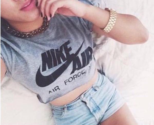shirt grey t-shirt nike air sporty nike air force 1 high top crop tops nike dope summer style fashion shorts top t-shirt