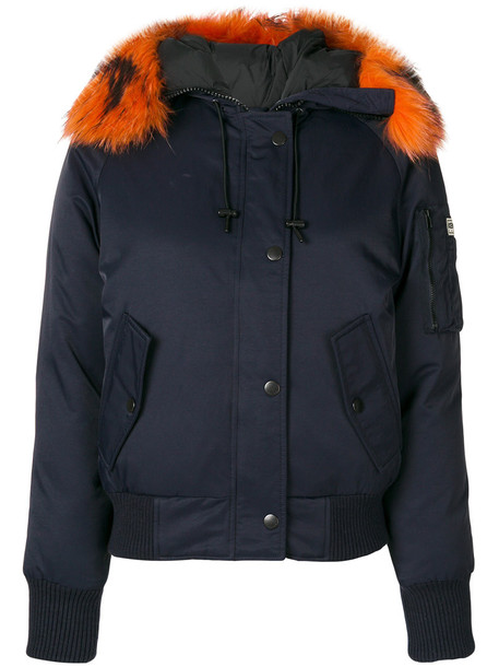Kenzo jacket hooded jacket feathers fur women blue