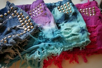 shorts hipster high waisted colorful tie dye jeans acid wash spikes golden spikes hot pants frayed frayed shorts