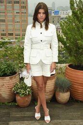 shorts,sofia richie,mules,fashion week,celebrity,jacket,all white everything,white