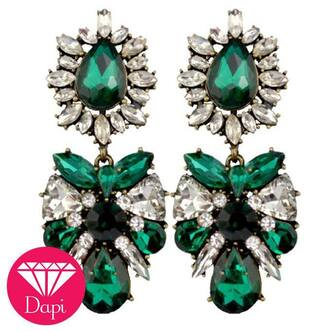 jewels earrings green pretty crystal