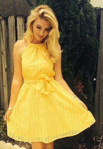 Yellow dress blonde hair