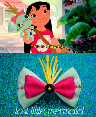 scarf scrump cute lilo and stitch hair bow pink disney hair accessory