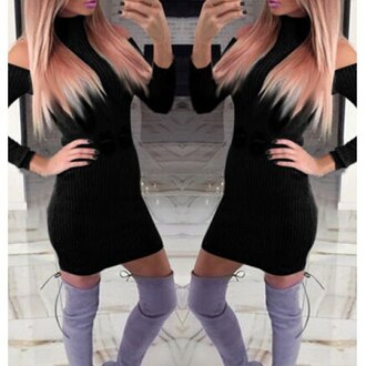 dress black sexy long sleeves fashion style trendy hot party rose wholesale-dec sweater off the shoulder sweater dress bodycon dress rosegal bodycon