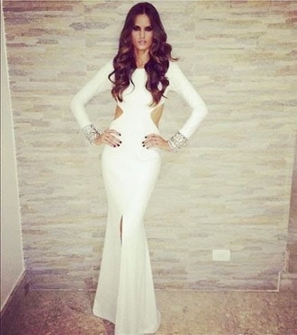 dress long dress long sleeve dress maxi dress white dress prom dress white izabel goulart