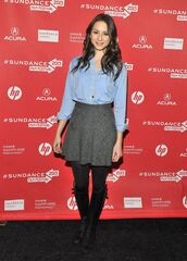 skirt,tweed,grey,tweed skirt,grey tweed skirt,skater skirt,grey skirt,grey skater skirt,spencer hastings,abc family,pretty little liars,troian bellisario,chambray blouse,style,casual,smart casual,charcoal skirt,shirt,pll spencer,sundance film festival,shoes