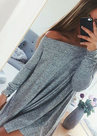 Off The Shoulder Long Sleeves Dress|Disheefashion